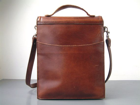 French vintage LARGE genuine leather brown leather satchel.
