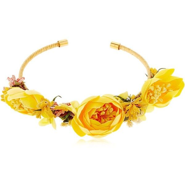 Vanina Women The Douma Garden Collar Necklace ($165) ❤ liked on Polyvore featuring jewelry, necklaces, yellow, cord necklace, cord jewelry, collar jewelry, collar necklace and floral jewelry