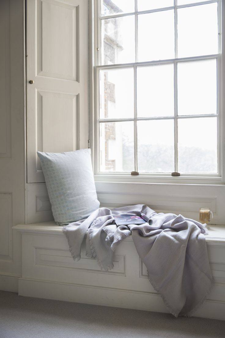 Linen Throw in Pale Grey from The Linen Works