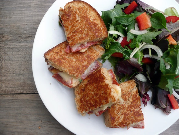 Herbed Pepperoni Grilled Cheese Sandwich with Four Cheeses