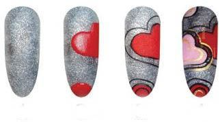 """adorable! Silver nails with red hearts """"Progressive Pattern"""" Valentines Day Free Hand Holiday Nail art. This can be done with any pattern or nail art. So cute but so easy!"""