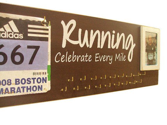 Race bibs and medals holders  medals holder by runningonthewall, $49.00