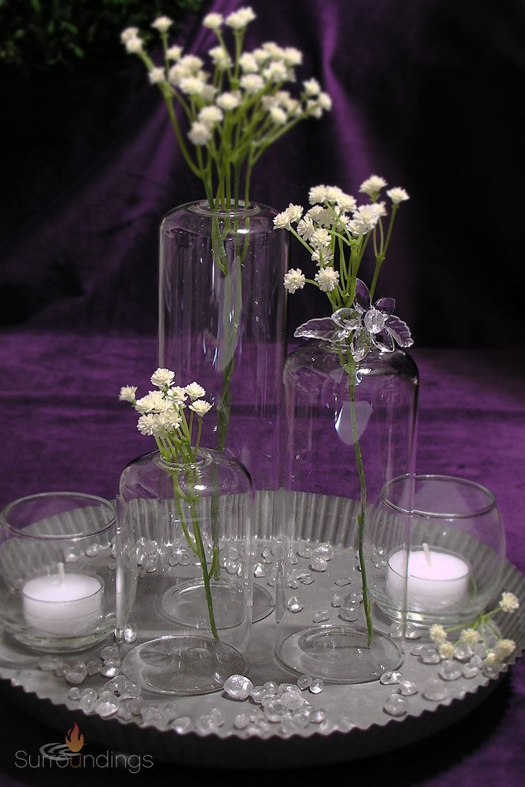 Create airy elegance with this dome glass vase set place a single flower stem or green in each vase youll love the look vases are 2 5 wide 4