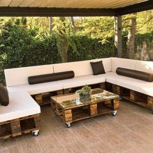 Möbel aus Paletten ganze Sitzecke Couchtisch - Veranda