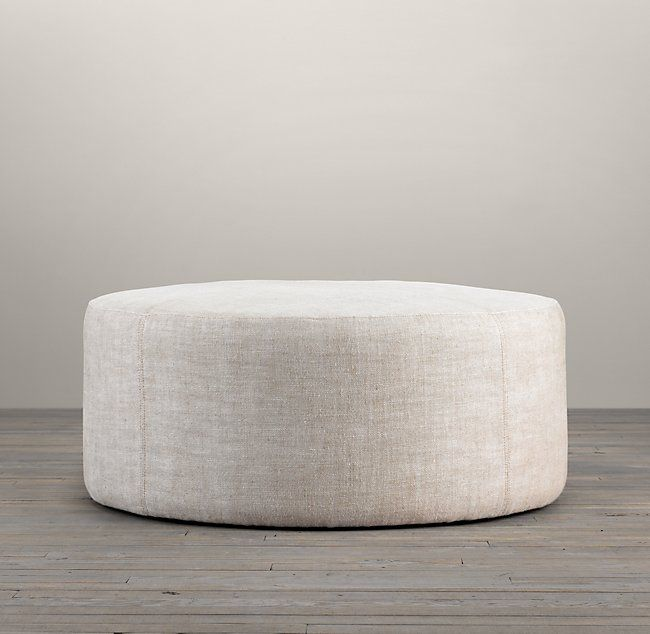 "36"" Cooper Upholstered Round Ottoman- comes in a lot of fabric options inc perennials indoor outdoor"