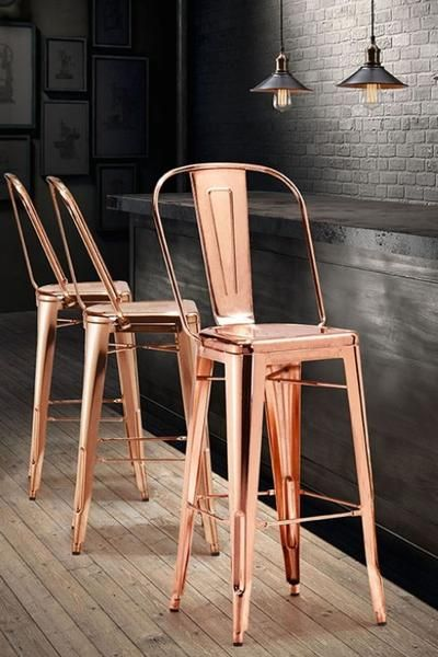"""Add a touch of glamour to your gatherings with these chic barstools covered with a shining rose gold finish. A stylish way to enhance your bar area. Also available in gold. Measures 46"""" in height, wid"""