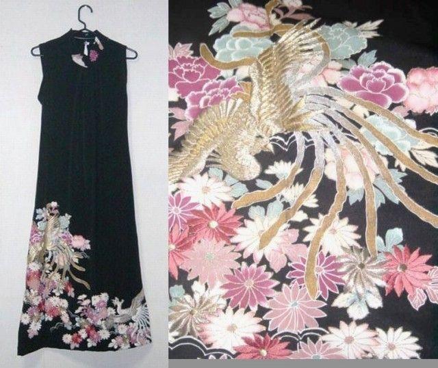 留袖リメイク♪鳳凰&菊の刺繍が豪華な留袖ハイネックワンピース♪ - SonaSona着物リメイク