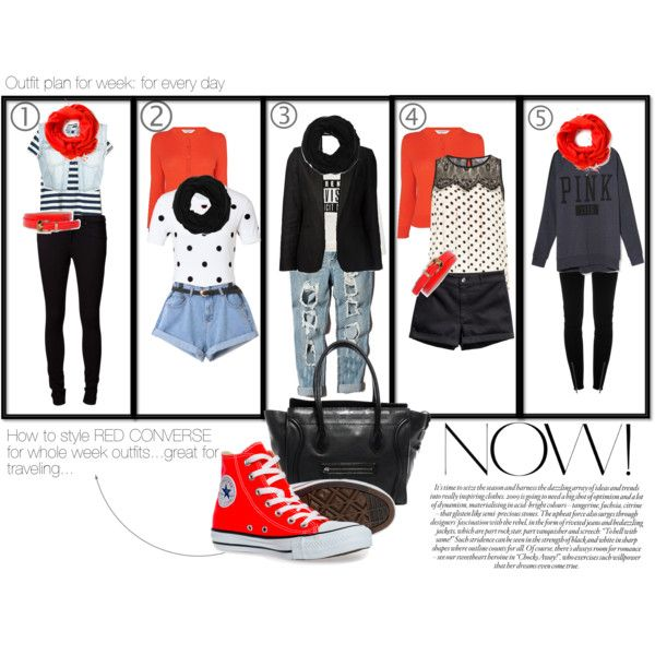 """Outfit plan for week: Red Converse every day"""