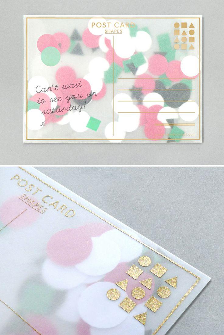 Confetti postcard / gold foil