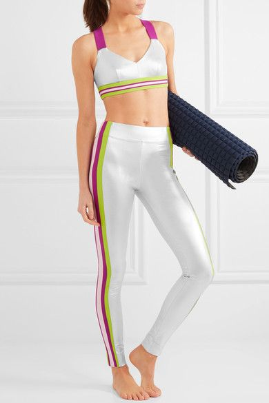 No Ka'Oi - Ola Striped Metallic Sports Bra - Silver -