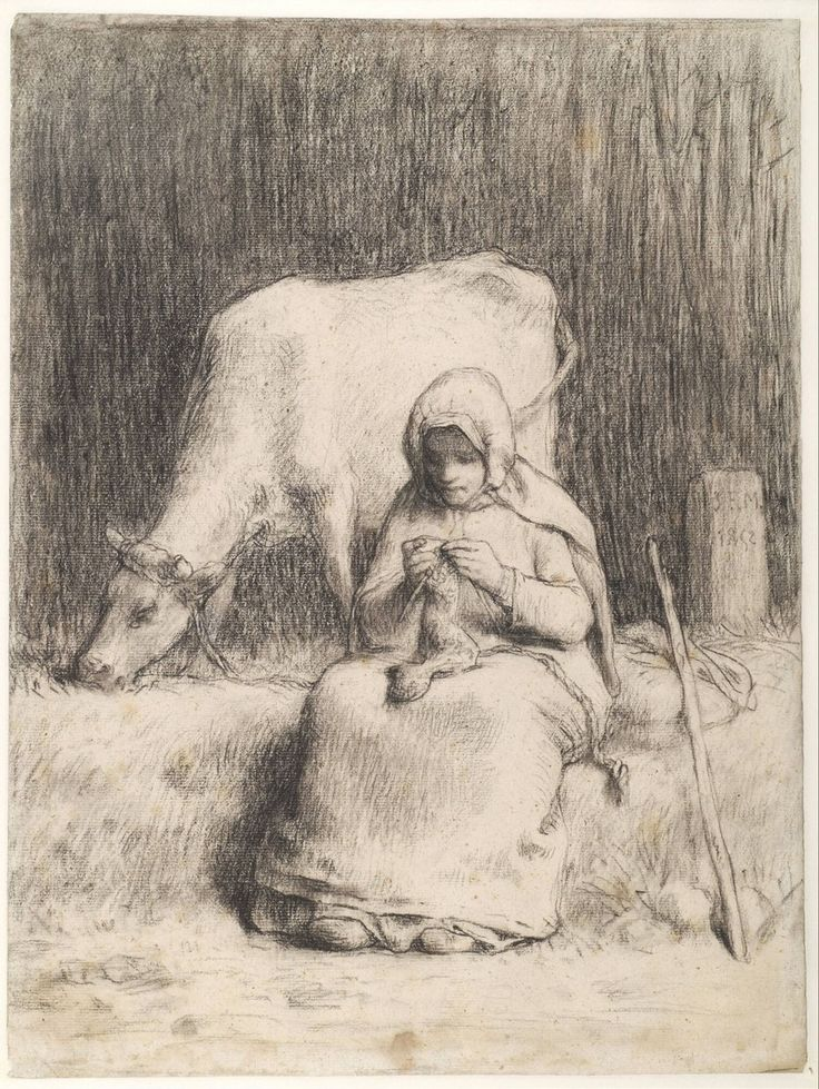 Peasant Girl Seated Near Her Cow, Jean François Millet, c. 1852-1853 | Museum Boijmans Van Beuningen