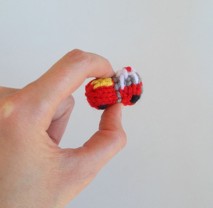 Tiny Fire Engine Knitted Brooch Pin - Firefighter Jewelry - Miniature Car - Car Jewelry - Fire Truck Pin - Firefighter Gift Idea by DrFrankKnits on Etsy