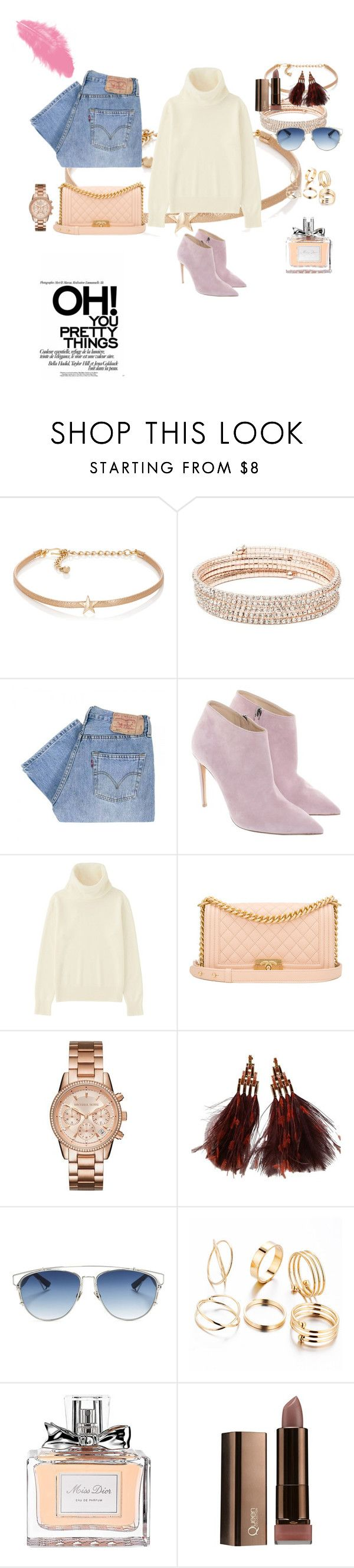 """#oh you pretty things !! 💜💋💋💋"" by joe-khulan on Polyvore featuring Kenneth Jay Lane, Anne Klein, Levi's, Ralph Lauren, Uniqlo, Chanel, Louis Vuitton and Christian Dior"