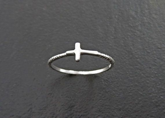 Anillo lado cruz anillo de plata anillo apilable por KRAMIKE