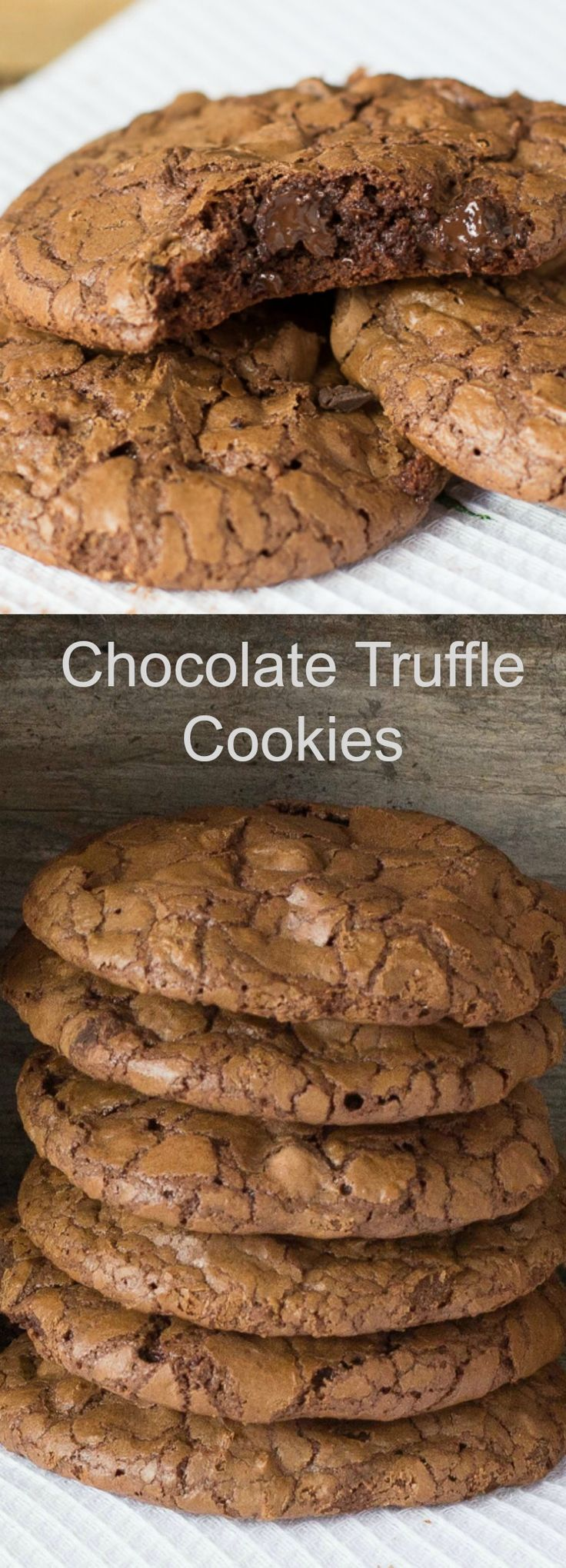 These Chocolate Truffle Cookies are the ultimate chocolate lover's cookie. These cookies are nice and crisp on the outside yet soft and chewy on the inside.