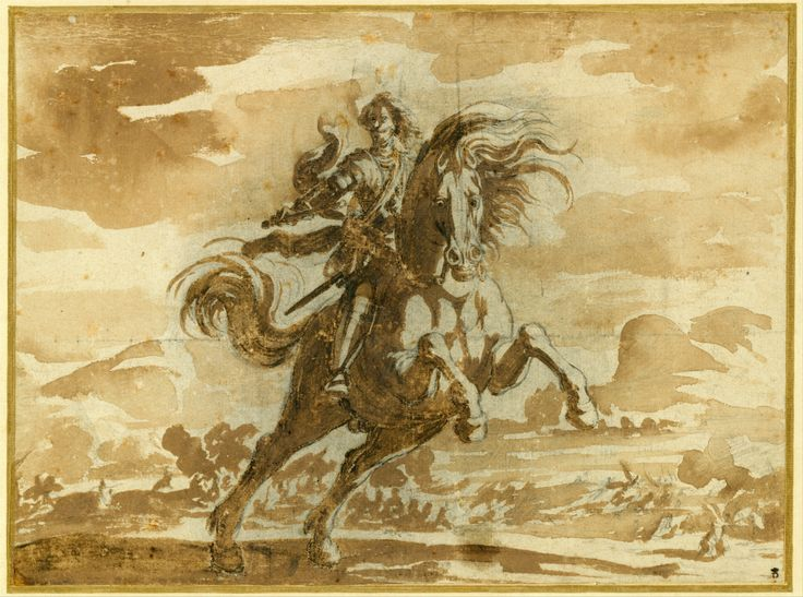 Jacques Callot, 1592-1635, French, Equestrian Portrait of Louis de Lorraine, Prince of Phalsbourg, 16th century.  Brown ink washes over a black chalk underdrawing;  24.7 x 33.3 cm.  The Metropolitan Museum of Art, New York.  Baroque.