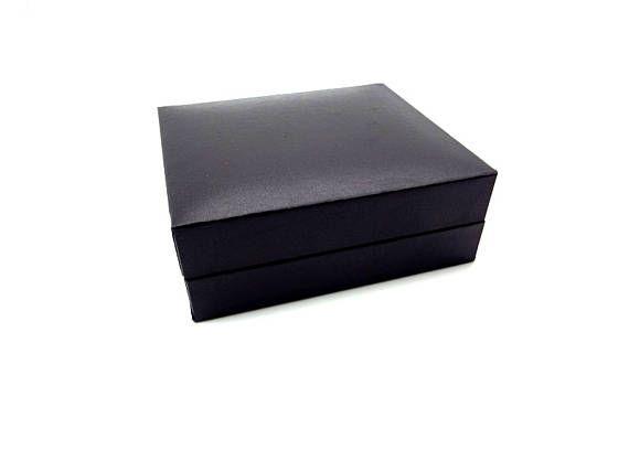 Black Satin Finish Cufflink and Tuxedo Shirt Stud Gift Box