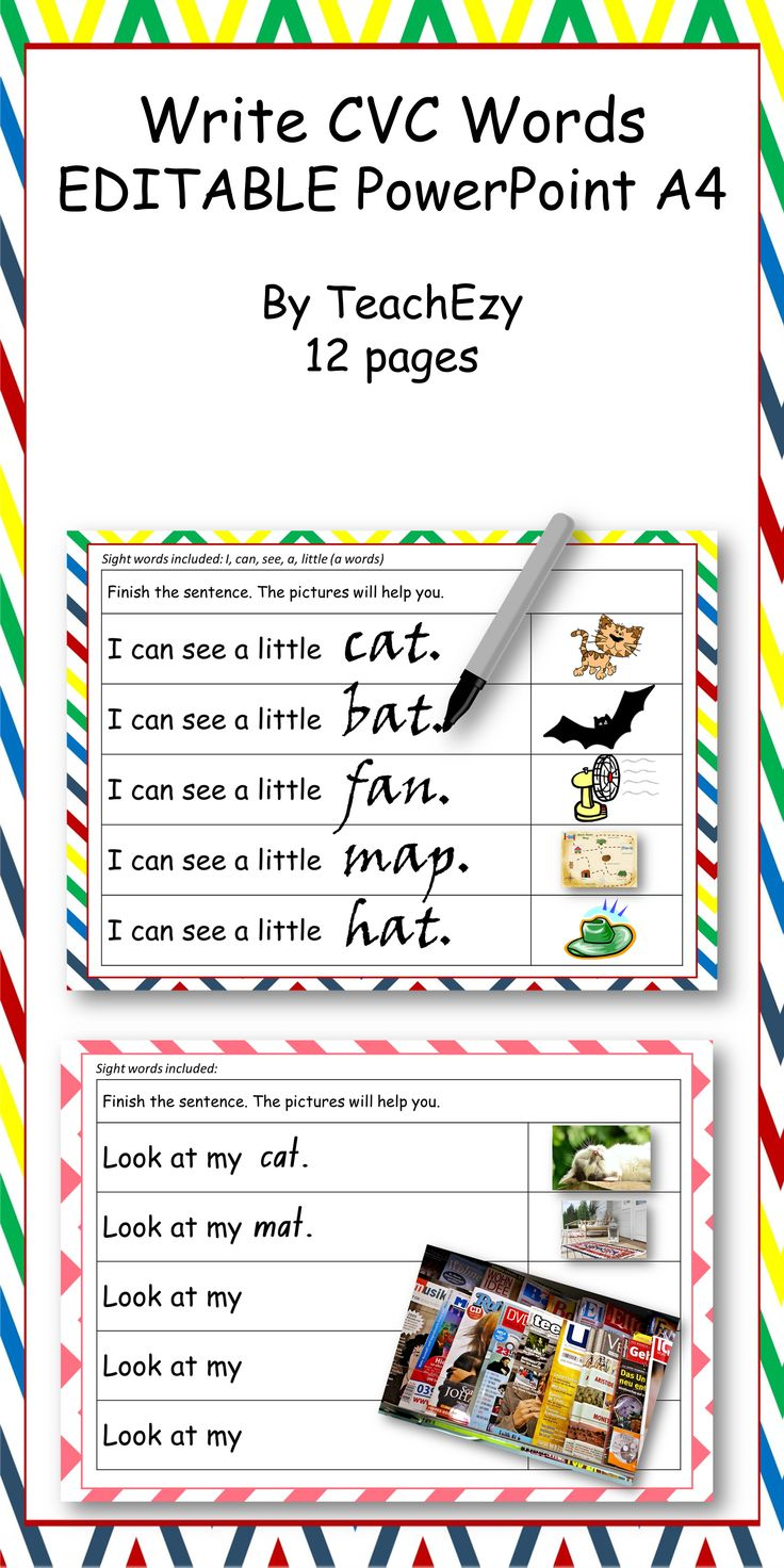This resource if to help students write CVC words. We have provided 5 pages set up ready to go with images and more pages for you to design as you wish. You can change the sentences and add images to suit. The idea is to print these out and laminate. Use whiteboard markers to write the words. Alternatively, you can print out blank pages and have students find CVC images like cat/mat/hat in magazines to glue on. They can then write a sentence or finish a sentence by writing only the CVC word.