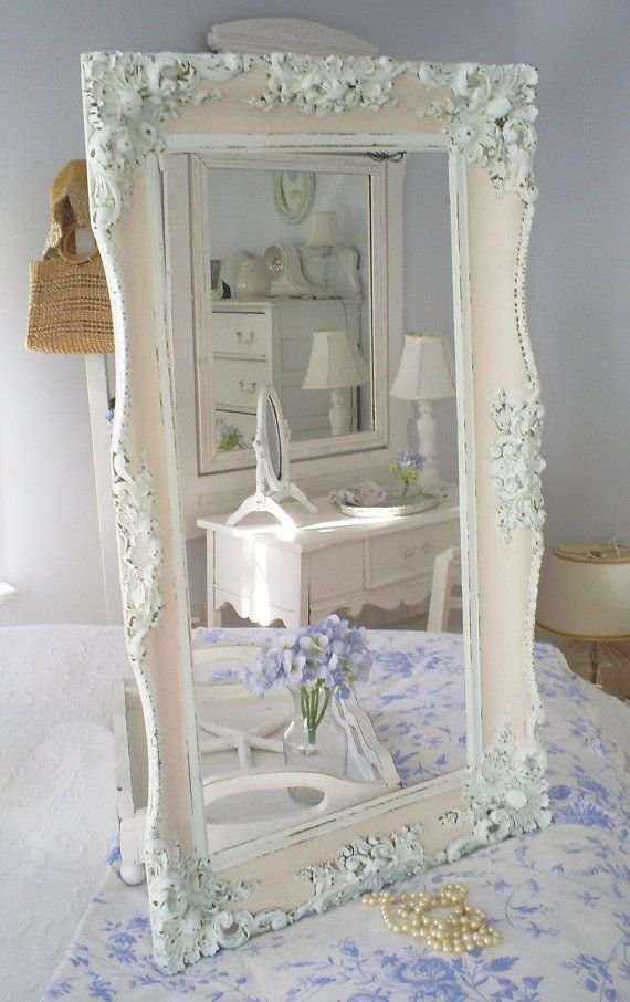 Shabby chic vintage frame   pink white by backporchco on Etsy, $79.00