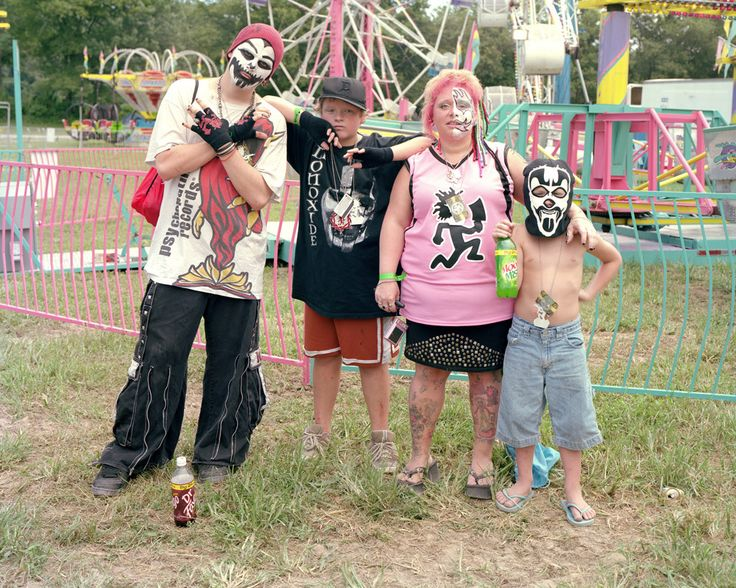 This my be too easy. Juggalos at a gathering. With kids of course.