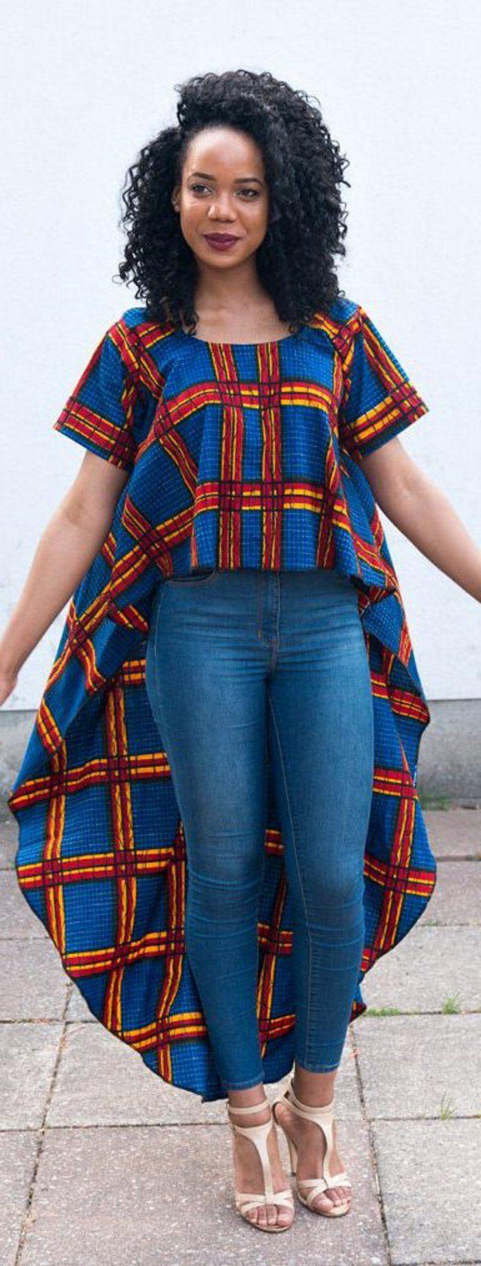 tenue africaine, tunique asymétrique et jeans, mode africaine de tous les jours