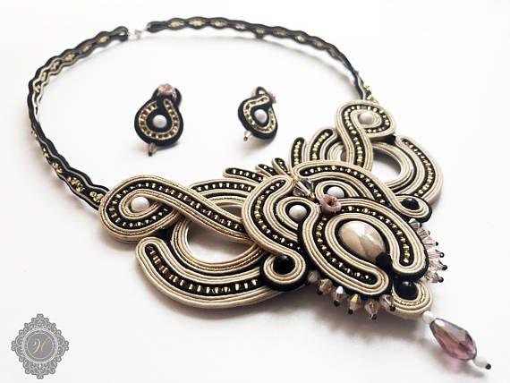 Soutache handmade beige jewelry. Soutache necklace