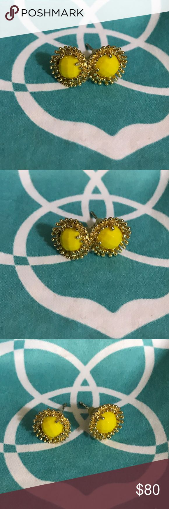 "*Rare* Kendra Scott yellow Carly stud earrings Kendra Scott yellow Carly stud earrings (non-custom). I would definitely not call these neon yellow but I really don't think they are mustard either. If there is an expert who wants to comment I would appreciate it. I think they are just plain ""yellow"". Excellent condition from the front, solid posts with some wear/tarnish that doesn't affect wear. Older rubber backs. These are extremely rare/HTF. FIRM Kendra Scott Jewelry Earrings"