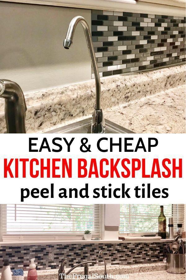 Diy Peel And Stick Glass Tile Backsplash With Kitchen Tile Stickers In 2020 Diy Backsplash Stick On Tiles Cheap Kitchen Backsplash