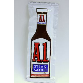 Individual packages A1 Steak Sauce F03-3203400-1100 - $0.43 each  0.5 oz steak sauce in individual size packet. A convenient travel size for on the go.
