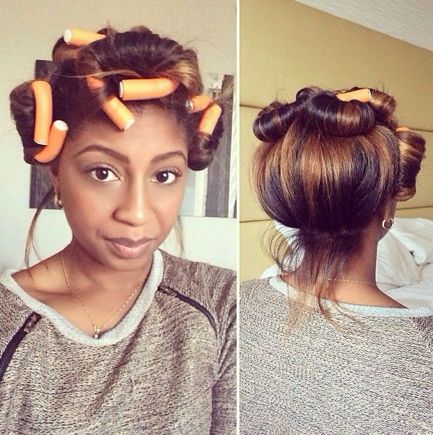 Natural hair: flexi rods: pin up But her hair color tho?!!
