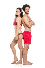 Couple In Red Swimwear