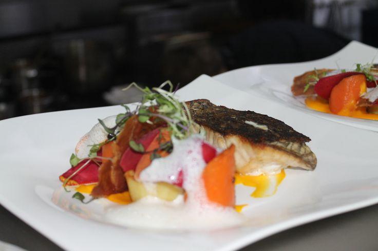 crisp skin barramundi; with carrot textures, crisp prosciutto, fondant potato, carrot foam #barramundi #perth #delish www.boatshedrestaurant.com