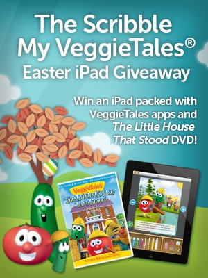 Win an iPad to celebrate the new app, Scribble My VeggieTales Story. Kids can make their own stores with the VeggieTales characters. Teaches story construction, early reading skills, and creativity to kids 3-7. So cute!