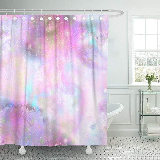 Tompop Shower Curtain Blue Abstract Unicorn Marble Galaxy In