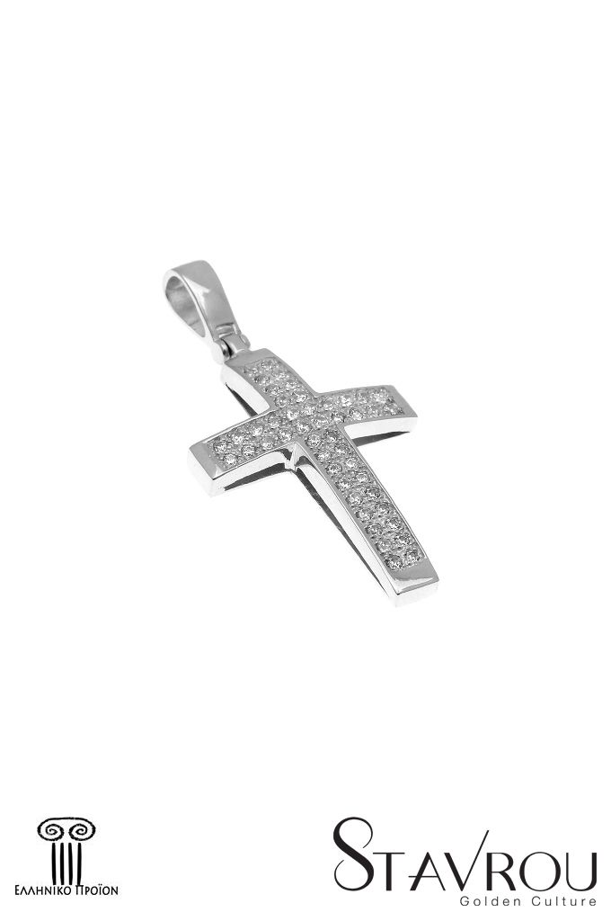Γυναικείος σταυρός, με ζιργκόν,σε λευκό χρυσό Κ14 #σταυροί_βάπτισης #βαπτιστικοί_σταυροί #χειροποίητα_κοσμήματα #γυναικείοι_σταυροί  #σταυροί #σταυροί_με_ζιργκόν