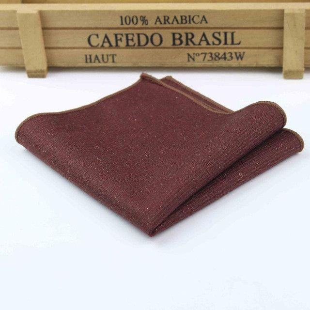 High Quality Hankerchief Scarves Vintage Wool Hankies Men's Pocket Square Handkerchiefs Striped Solid Cotton 23*23cm