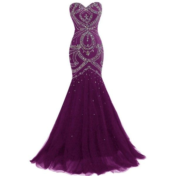 Amazon.com: Dresstells® Long Mermaid Prom Dress Corset Back Tulle... ($85) ❤ liked on Polyvore featuring dresses and gowns