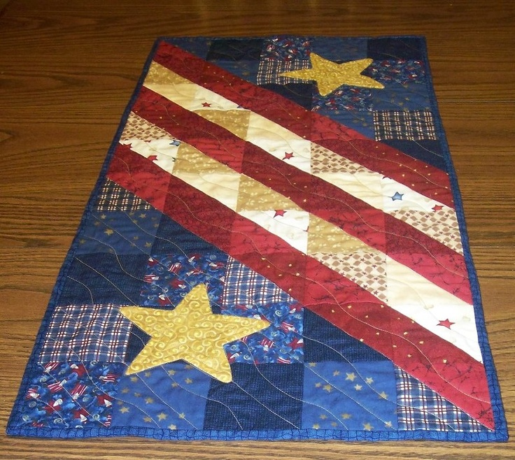 Instead of the blue, make it white, and put red maple leaves on it instead of stars - then it's Canadian!  patriotic table runner...~love this!