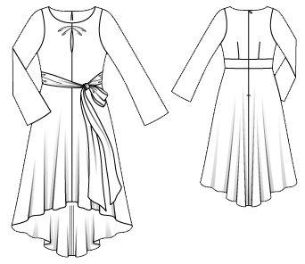 Романтика в кожній деталі! Шовкова сукня з трохи розкльошеними рукавами, легкою асиметричною спідницею, розрізом і складками на ліфі зробить вас ще чарівнішою. Довершують вбрання широкі бокові зав'язки, що переплітаються спереду в бант.  Вам знадобиться: «варений» шовк 3,75-3,80-3,85-3,90-3,95 м шириною 135 см; флізелін формбанд; 1 потайна застібка-блискавка довжиною 60 см і спеціальна лапка швейної машини для її пришивання.