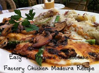 Easy to prepare cheesecake factory chicken madeira recipe! http://dcheesecakefactoryrecipes.blogspot.com/2012/06/easy-to-prepare-cheesecake-factory.html... #recipe #food
