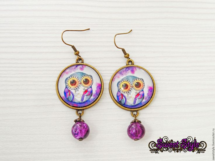 """Купить Серьги """"Совушка"""" - фиолетовый, серьги, сережки, сова, совушка, совенок, совушки, сова в подарок"""