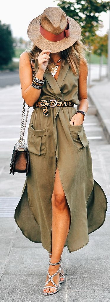 bohemian khaki midi dress with adorable leopard accessories chic summer outfit bohemian girl