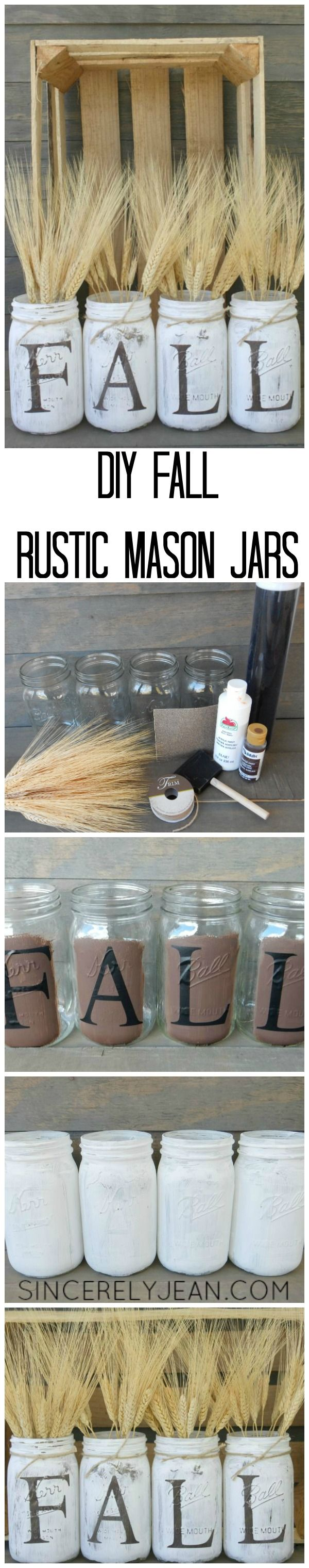 Fall Rustic Mason Jars - an easy and beautiful fall craft! | www.sincerelyjean.com