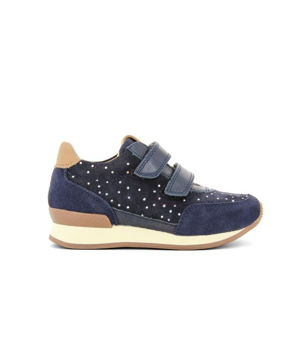 Shoes Jog Leather Polka Dots navy