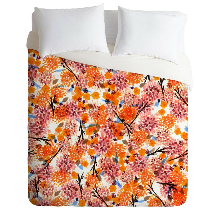 Joy Laforme Floral Forest Orange Duvet Cover | DENY Designs Home Accessories