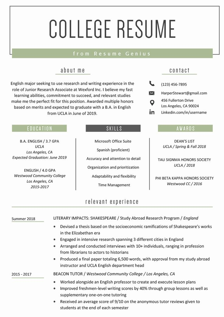 40 Resume Template College Student in 2020 Student