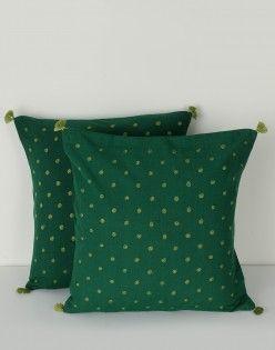 Cotton Embroidered Sharita Bindu Cushion Cover