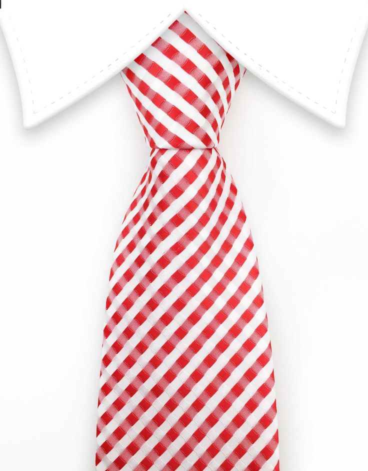 Red & White Extra Long Tie - 3XL