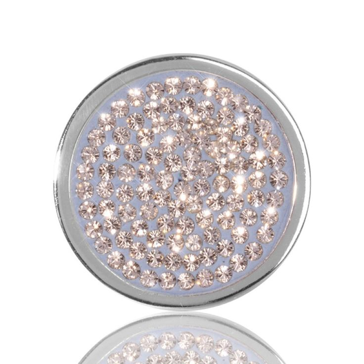 Nikki Lissoni Silver Plate Swarovski Blue Crystal Coin 23mm