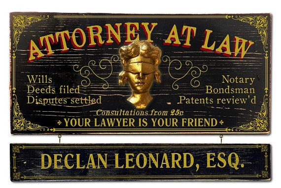 Attorney At Law Vintage Plank Nameplate Sign by KandKSales on Etsy